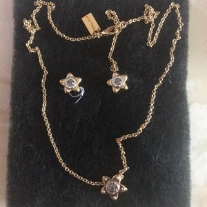 NWT Coach gold star earrings and necklace set